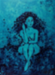 Anna Wode, peiture, painting, bleu, blue, Sirène, blue line, mermaid, Bild, blau
