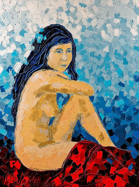 Anna Wode, Sitting nude - à la fleur bleue, mixte, art, contemporary, contemporain, Kunst