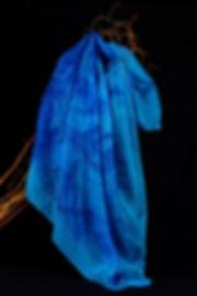 Anna Wode, batik, foulard, soie, silk, bleu, blue, sea, mer mermaid, Sirene, Sirène