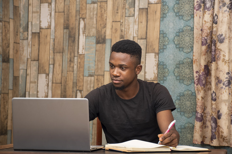 African American student in front of computer