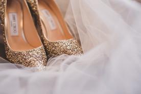 Bridal prep Jimmy Choo gold glitter wedding shoes Essex