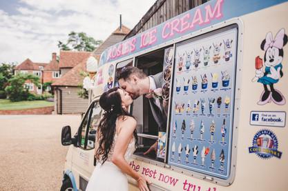 Fun Norfolk barn wedding kissing ice cream van