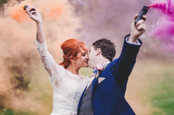 Smoke bomb wedding photography at Blake Hall Essex