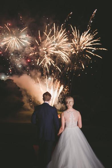 Greatest Showman fireworks at Essex summer wedding reception