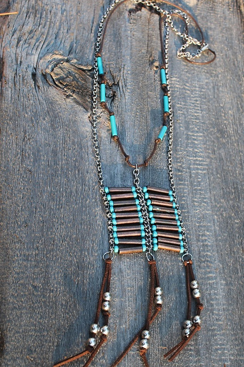 TURQUOISE INDIAN BOHO BEADED NECKLACE