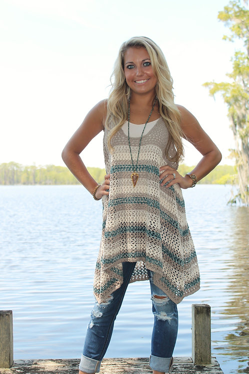 """""""STRIPE YOUR TUNIC"""" Sleeveless Knitted Sweater"""