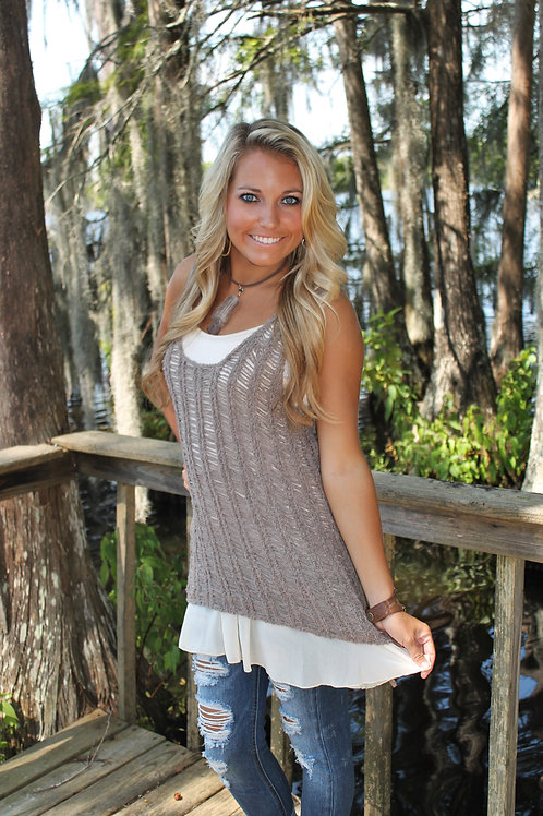 """TEXTURED TUNIC"" Sleeveless knitted sweater"
