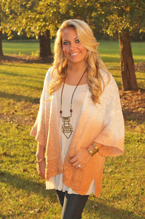 CINNAMON OMBRE KANGAROO POCKET SWEATER
