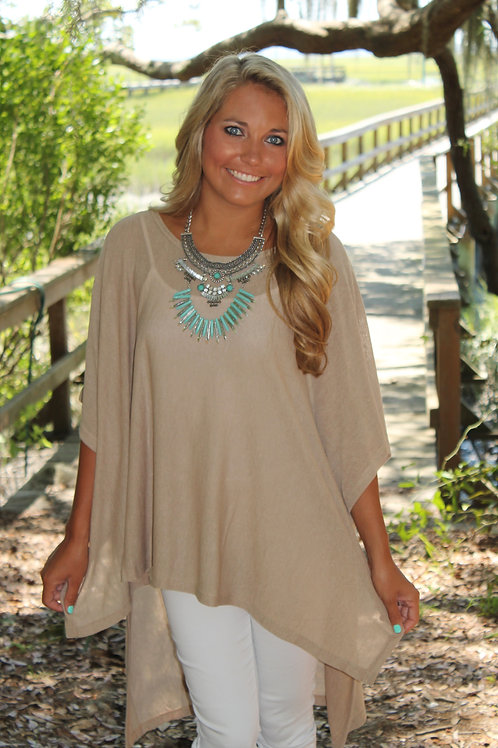 NATURAL PONCHO TOP