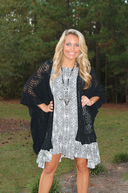 BLACK DOLMAN SLEEVE TEXTURED CARDIGAN