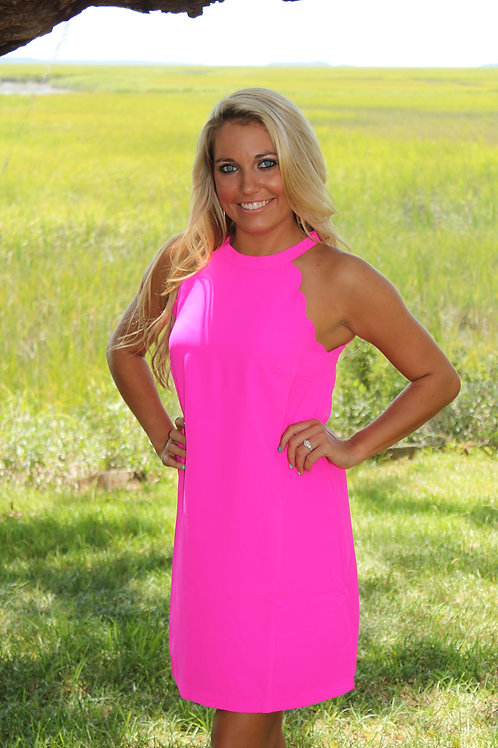 """SCALLOP BY THE SEA"" HOT PINK DRESS"