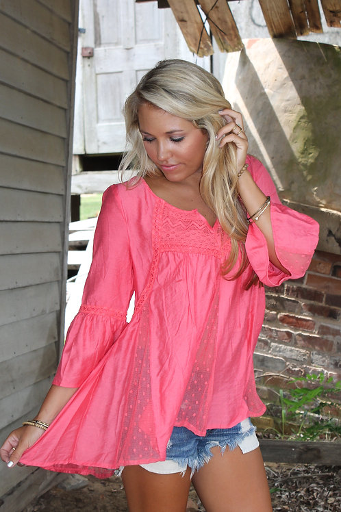 CORAL BOHO LACE HI LO TOP