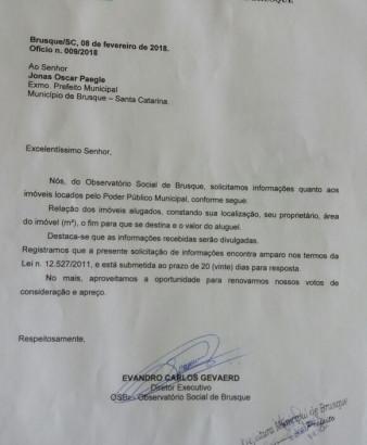 OSBr solicita informações sobre aluguel de imóveis pelas Prefeituras de Brusque e Guabiruba