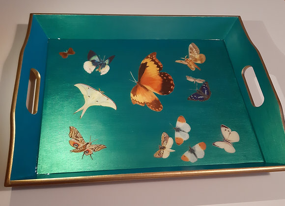 Iridescent blue Large Serving trays with butterflies