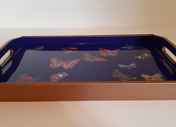 Dark Blue and gold Medium Serving Tray with butterflies