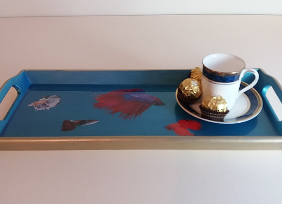Fish in Iridescent Blue and Empire Gold serving tray