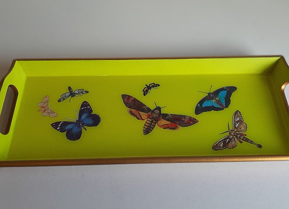 Lime yellow and renaissance gold small serving tray with moths and butterflies