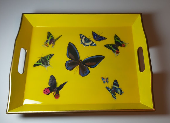 Large Yellow Empire Gold Tray with Butterflies