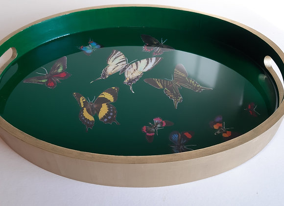 Green and gold Oval Serving tray with butterflies