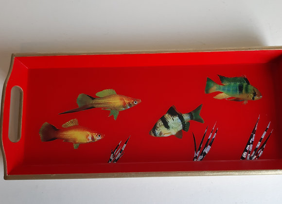 Red and Empire Gold serving tray with fish