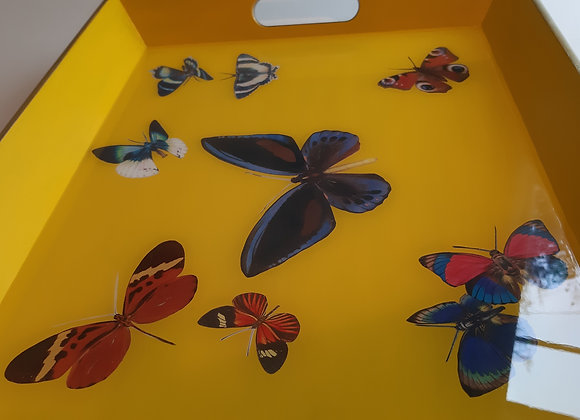 Cadmium Yellow and Empire Gold Large Tray with Butterflies