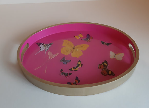 Hot Pink Oval Serving Tray with butterflies