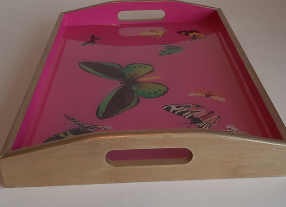 Hot Pink and Empire Gold medium Serving Tray with butterflies