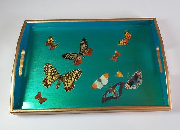 Iridescent Aqua blue Medium Tray with butterflies