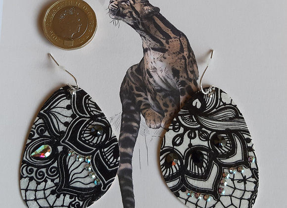 Teardrop Metallic Earrings with Black lace pattern and swarovski crystal