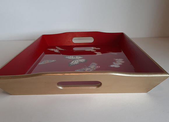 Red and King Gold Large Serving Tray