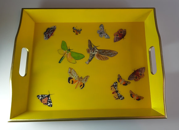 Cadmium Yellow Empire Gold Large Tray with Butterflies