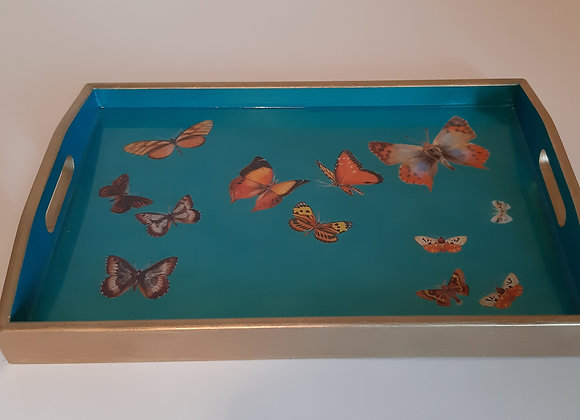 Iridescent Blue Medium Serving Tray with butterflies