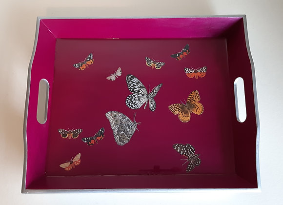 Fuchsia and silver large serving tray