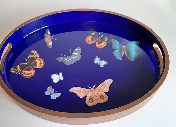 Ultramarine Blue Oval Serving Tray with moths and butterflies