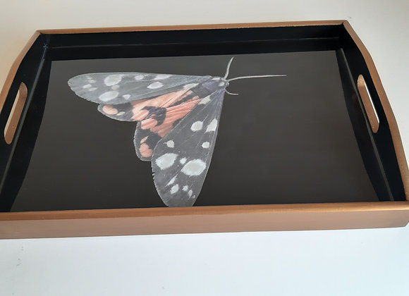 Black and Antique Gold medium Serving Tray with moth