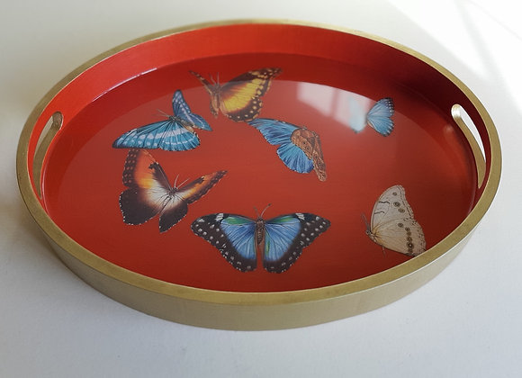 Orange and gold Oval serving tray with butterflies