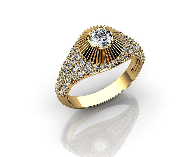 Men's Gold ring with Real Diamonds