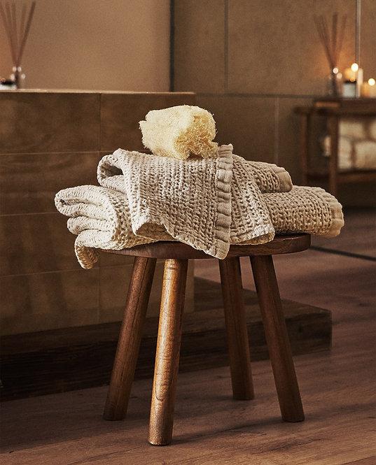 Вафельное полотенце из вареного льна с меланжевым узором