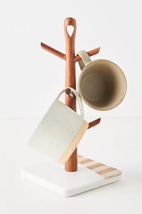 Подставка для кружек из мрамора и акации