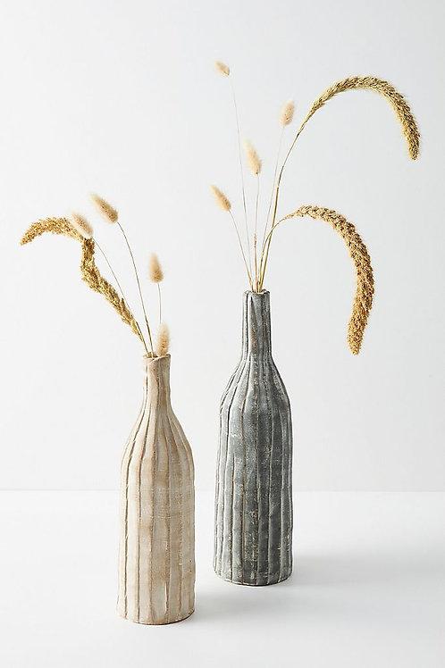 Ребристые глиняные вазы. Набор из 2
