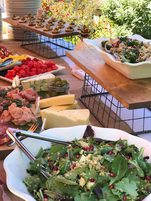 Lake Sherwood Bridal Shower Buffet Artichoke and Pest Crostini, Charcuterie, Gluten Free Penne a la Familia and Sunshine Salad