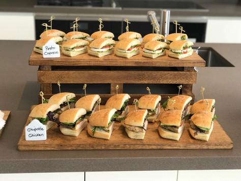 Chipotle Chicken and Pesto Caprese Sandwiches for the Staff Lunch at the Bugatti Chiron Driving Experience at Marisol Malibu, CA