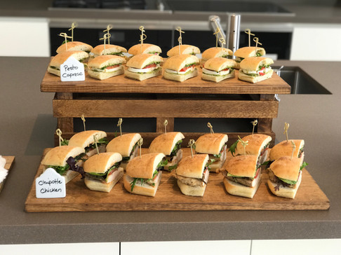 Chipotle Chicken and Pesto Caprese Sandwiches for the Staff Lunch at the Bugatti Chiron Driving Experience at Marisol Malibu, CA
