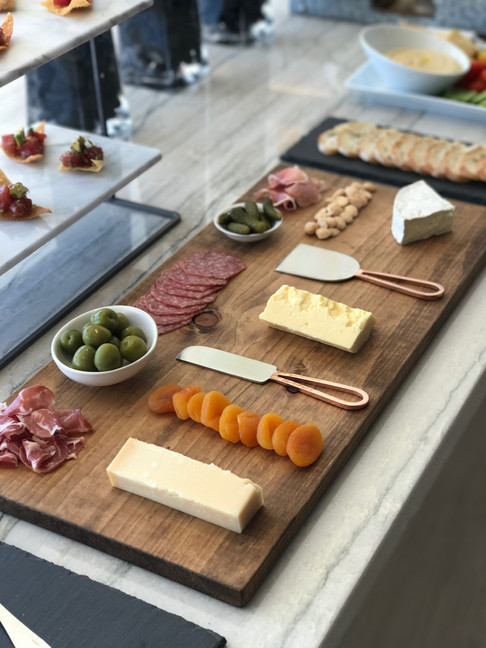 Afternoon refreshments of charcuterie, hummus and crudites and poke crisps for the Bugatti Chiron Driving Experience at Marisol Malibu, CA