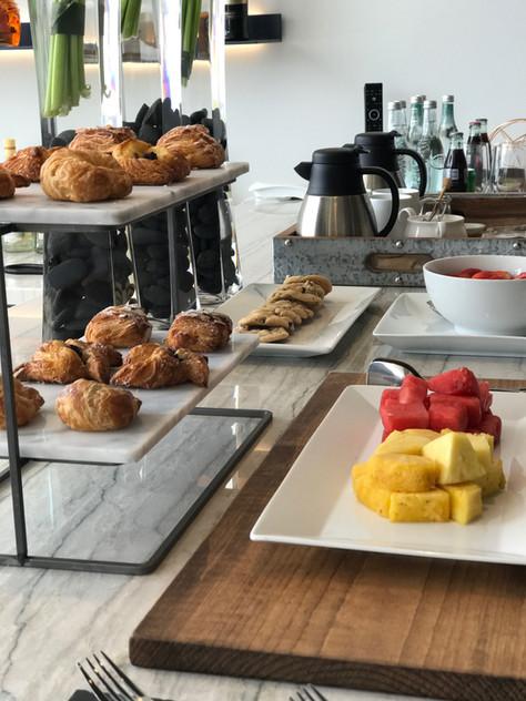 Breakfast refreshments for the Bugatti Chiron Driving Experience at Marisol Malibu, CA