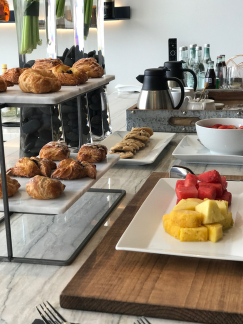 Breakfast refreshments for the Bugatti Chiron Driving Experience at Marisol Malibu, CA
