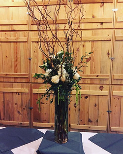 Loved this woodsy centerpiece for the buffet line
