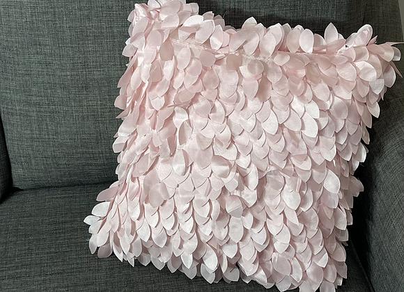 16 in. Pink Taffeta Petals Pillow Cover