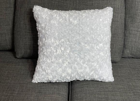 White Faux Fur Swirl Throw Pillow