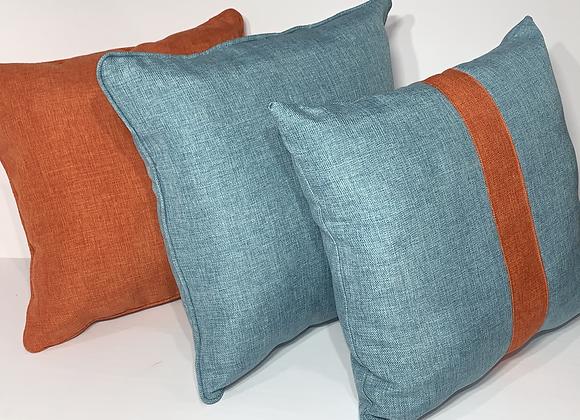 Aqua and Papaya Stripe Pillow Set